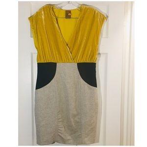 Ali Ro Velvet and Tweed Mixed Dress 10 yellow